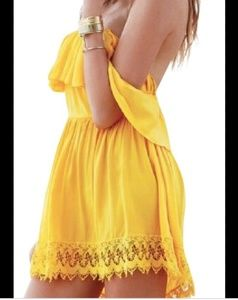 Lovers and friends yellow mini dress off shoulder